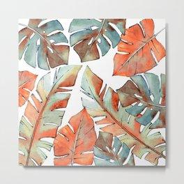 Watercolor Tropical Leaves III Metal Print