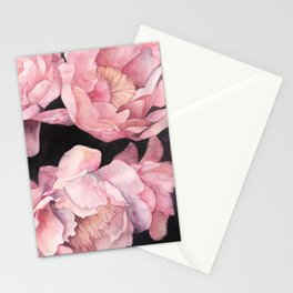 Peonies on Dark Background Stationery Cards
