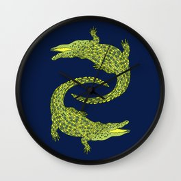 Crocodiles (Deep Navy and Green Palette) Wall Clock