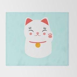 Lucky happy Japanese cat Throw Blanket
