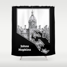 Johns Hopkins Hospital Etching Shower Curtain