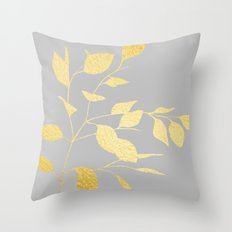 Leaves Gold on Grey Throw Pillow