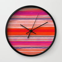 stripes Wall Clocks featuring stripes by spinL