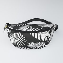 Tropical Palm Leaves Black And White Minimalistic Pattern Fanny Pack