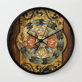 medieval wood painting Wall Clock