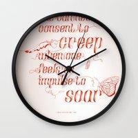 helen green Wall Clocks featuring Soar - Illustrated quote of Helen Keller by VonFires (Adele van Vuuren)