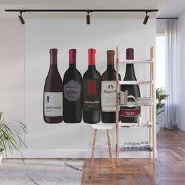 Red Wine Bottles Wall Mural