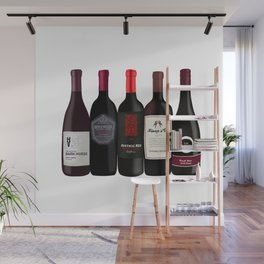 Red Wine Bottles Wall Mural