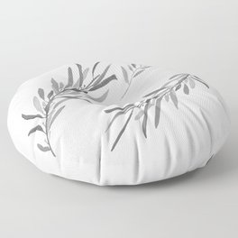 Eucalyptus leaves black and white Floor Pillow