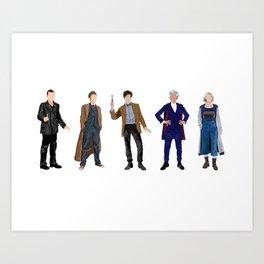 Doctor Who minimalist portraits 9th 10th 11th 12th 13th Art Print