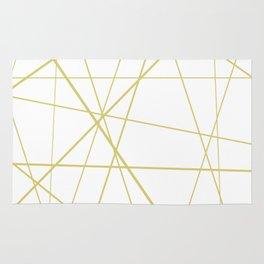Golden lines on white Rug