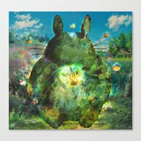calcifer Canvas Prints featuring best neighbor  by ururuty