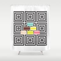 macarons Shower Curtains featuring macarons by antoloxia