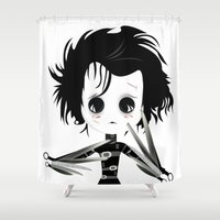 edward scissorhands Shower Curtains featuring EDWARD SCISSORHANDS by Raimondo Tafuri