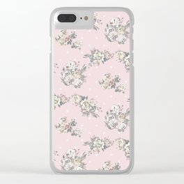 Hand painted pink white green roses polka dots Clear iPhone Case