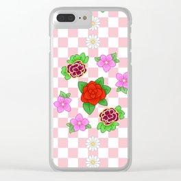 Pixel Flower Pattern Clear iPhone Case