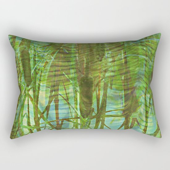 Blue Reed Rectangular Pillow
