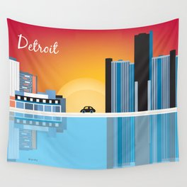 Detroit, Michigan - Skyline Illustration by Loose Petals Wall Tapestry