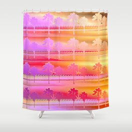 Tropical Beach Pattern (orange and magenta) Shower Curtain