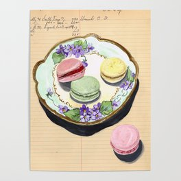 Macarons on an Antique Plate in Gouache Poster