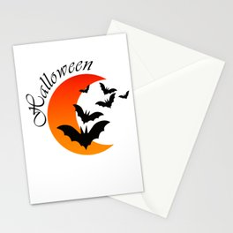 Blood bats and a bloody moon - Halloween  Design Stationery Cards