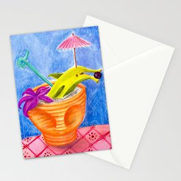 Tiki Drink no.2 with banana dolphin Stationery Cards