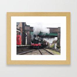 Vintage Steam Railway Train at the Station Framed Art Print
