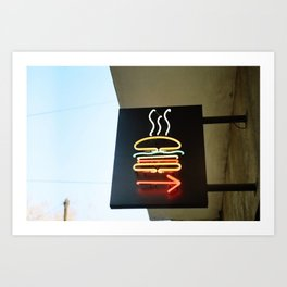 Neon Burger Art Print