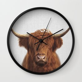 Highland Cow - Colorful Wall Clock
