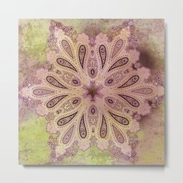 frosty paisley star in earth and lime Metal Print