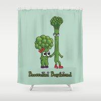 boyfriend Shower Curtains featuring Broccolini Boyfriend by khalan