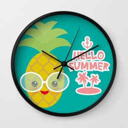 Hello Summer cute funny kawaii exotic fruit pineapple with sunglasses Wall Clock