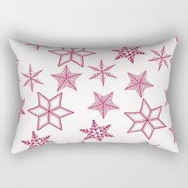 Red Snowflakes On White Background Rectangular Pillow