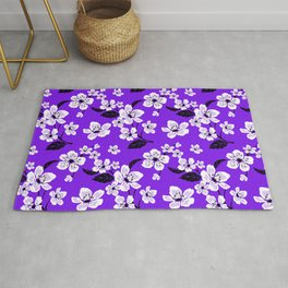 Light Purple & White Sakura Cherry Tree Flower Blooms on Dark Purple - Aloha Hawaiian Floral Pattern Rug