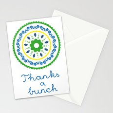 Green suzani inspired floral round placement Stationery Cards