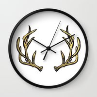 antlers Wall Clocks featuring Antlers by Climbing Mountains