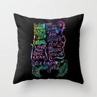 lyrics Throw Pillows featuring Lettering Lyrics by Insait disseny