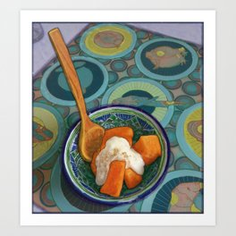 Papaya with Yogurt, Maple Syrup, and Cinnamon Art Print