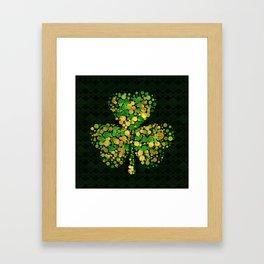 Decorative Irish Shamrock -Clover Gold and Green Framed Art Print