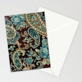 Brown Turquoise Paisley Floral Stationery Cards