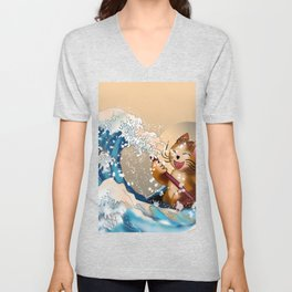 Cat in a kayak in the wave off Kanagawa Unisex V-Neck