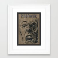 pennywise Framed Art Prints featuring Pennywise / IT (DRAWLLOWEEN 25/31) by pakowacz