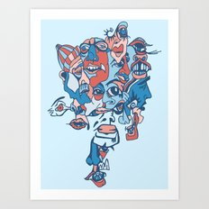 Close-Mouth Grin on a Gap Tooth Brain Freeze Art Print