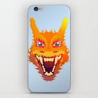 charizard iPhone & iPod Skins featuring Flaming Dragon by Head Glitch