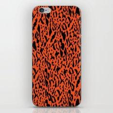 Neon Orange and Black Leopard Print Pattern iPhone Skin