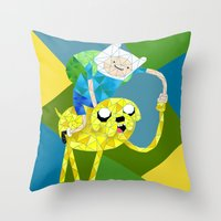 finn and jake Throw Pillows featuring Jake and Finn by victorygarlic