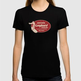 Club Surfing Longboard Surf Logo and Hibiscus Hawaiian Print      T-shirt