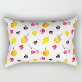 Fruit Salad - Watercolor & Ink Pattern Rectangular Pillow