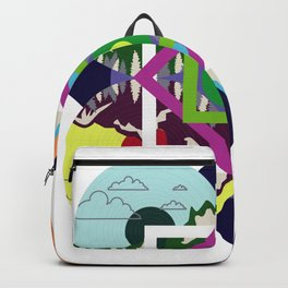 Colorful Abstract Geometry Art Mountain Backpack