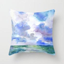Abstract Ocean Watercolor Throw Pillow